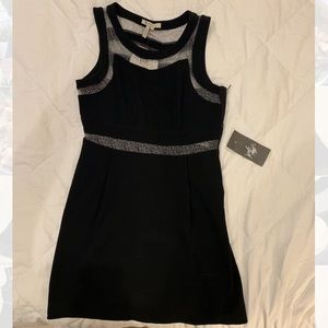 Black BCBGENERATION Dress with silver sheer panels
